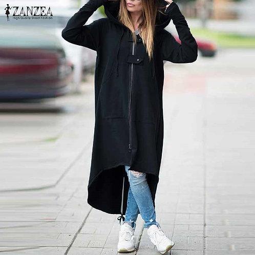 Hooded Long Sleeve Zipper Drawstring Coat Casual Solid Long Jacket Sweatshirt