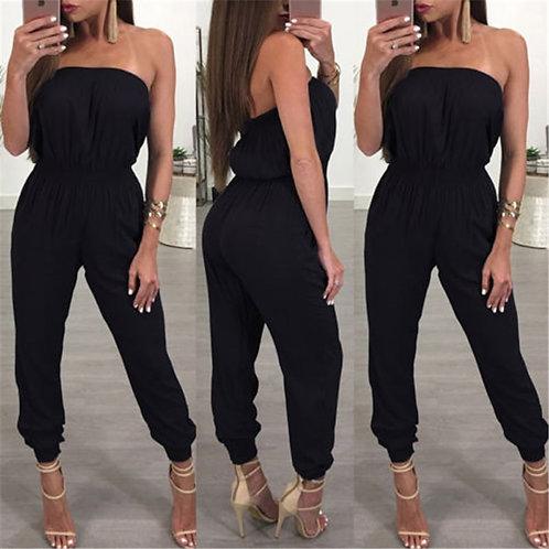 Black Strapless Jumpsuit Women Elegant Casual Women Clothes Set Rompers Clothes