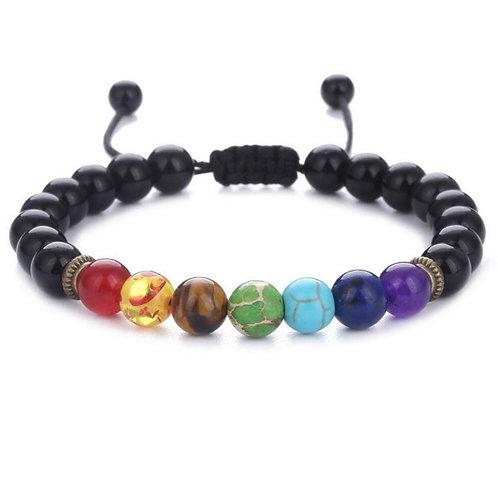 7 Chakra Bracelet Healing Heart Charm Bracelets  Mala Beads Stone Adjustable