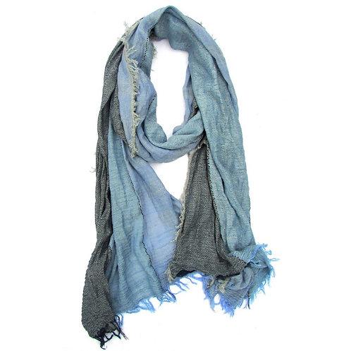 Turkish Cotton Blend Fringed Hobo Scarf Blue Degraded