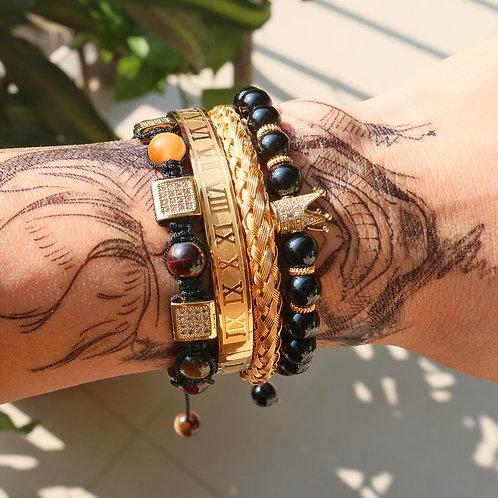 4pcs/Set Royal Crown Roman Bracelet Men Beads Braiding Bracelets & Bangles