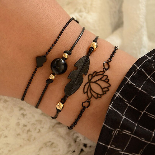 YADA Black Hollow Lotus Rope Weave Bracelets&Bangles  Handmade  Charm Friendship