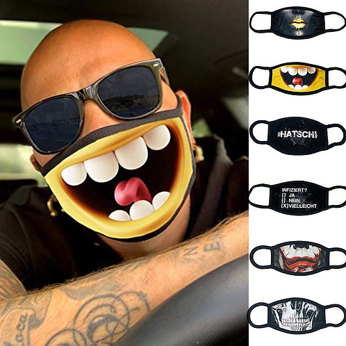 Print Mouth Masks Washable AntiDust Funny Mask Protective Respirator Breathable