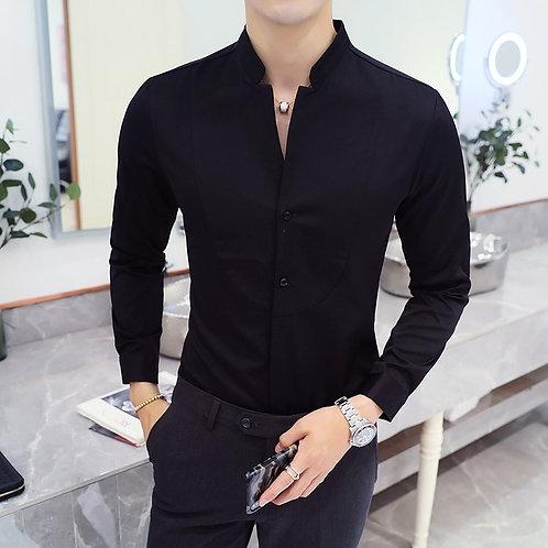 Men's Stand Collar Casual Shirt Masculina Boutique Long-Sleeved Slim Men's 5XL