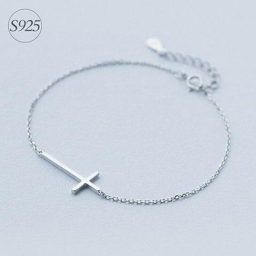 1pc Real. 925 Sterling Silver Crucifix Cross Religion Rolo Chain Wrist Bracelet