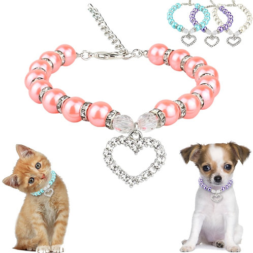 Rhinestone Pet Coller  Dog Cat Pearl Necklace Pet  Fashion Pets Dogs Cats Collar