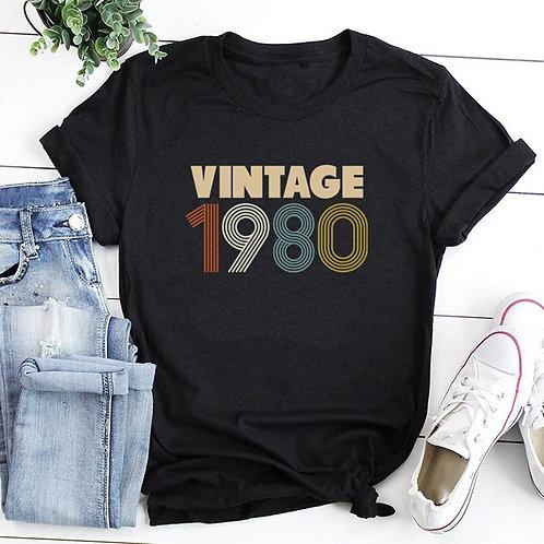 Vintage 1980 Casual Slogan  Black Letters Top Graphics Ladies Tee T-Shirt