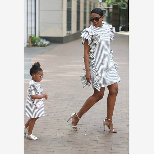 Striped Family Matching Clothes Mother Daughter Casual Flower Party Clothes