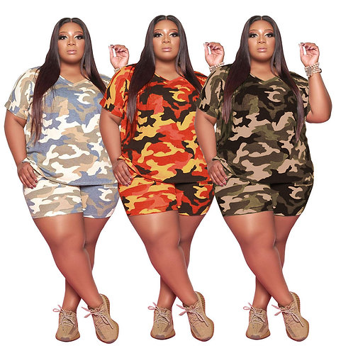 XLL 5XL Camouflage Tooling Shorts Sets Plus Size Women Clothing 2021 Summer