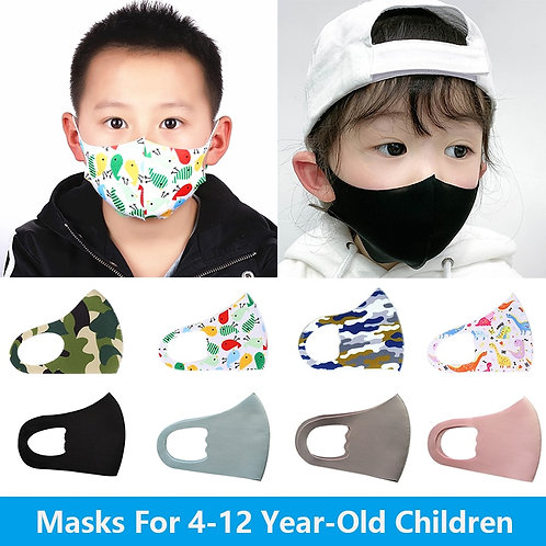 4-12 Years Old Kids Mouth Mask Cartoon Children Face Masks Washable Reusable