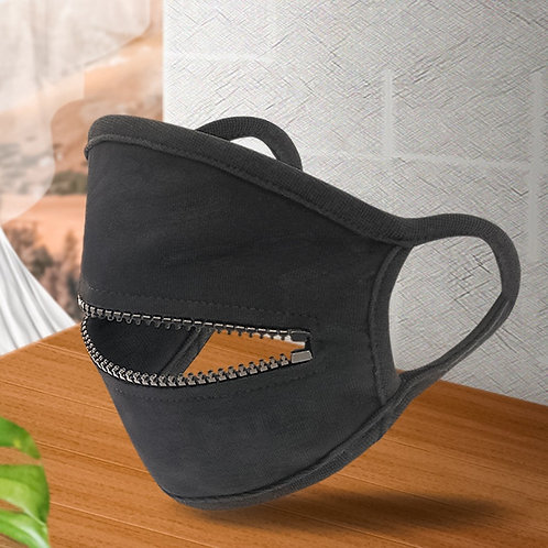 Black Mask With Zipper Fashion Designer Face Mask for Adult Unisex Cosplay