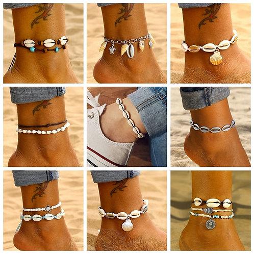 KINFOLK Bohemian Shell Anklets Bohemian Jewelry  Barefoot Bracelet Ankle on Leg