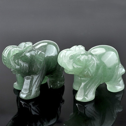 Green Aventurine Jade Stone Elephant Feng Shui Statue Chakra Healing Stones
