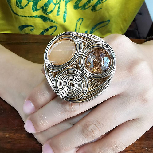Handmade Big Crystal Rings, Gold Color Wire Helical Wound Beads Finger Ring