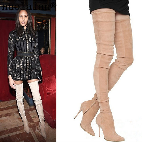 Faux Suede Leather Boots Over the knee High Heel Shoes Thigh High Motorcycle