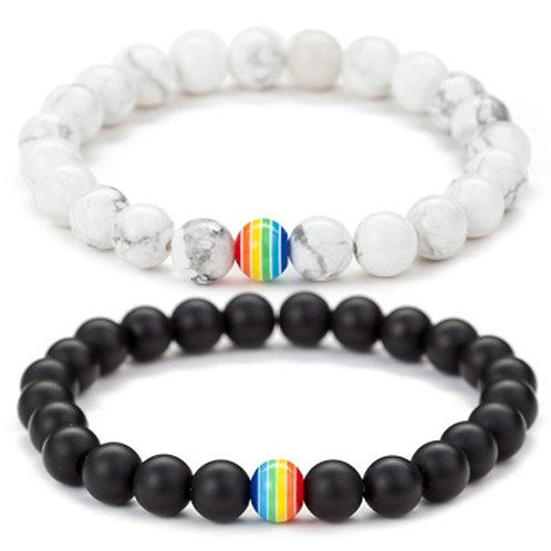 Rainbow Bead Bracelet Stone Strand Couple Bracelets Male Female Handmade Jewelry