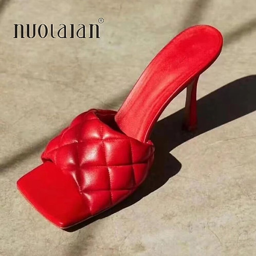 Women High Heels Sandals Ladies High Heel Slippers Square Toe Thin Heel Mules