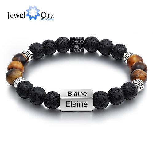 Personalized Mens Bracelet Customize Engraved 4 Names Men Beaded Chain Bracelet