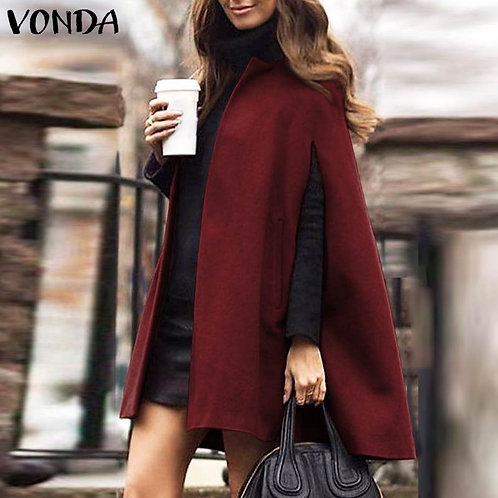 Elegant Women Cape Coat Vintage Casual Open Front Solid Jackets Casual Outwears