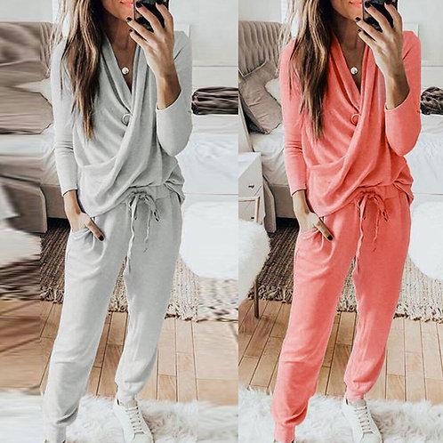 2Pcs Women Tracksuit Solid Color Pants Sets Leisure Wear Lounge Wear Suit