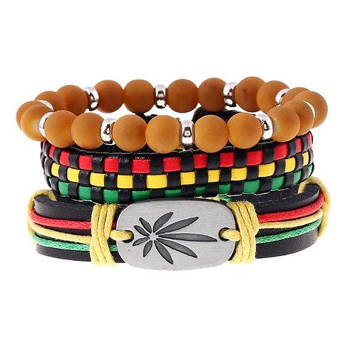 3Pcs Jamaica Leather Cord Woven Braided Bracelets Rasta Reggae Jeweley R7RF