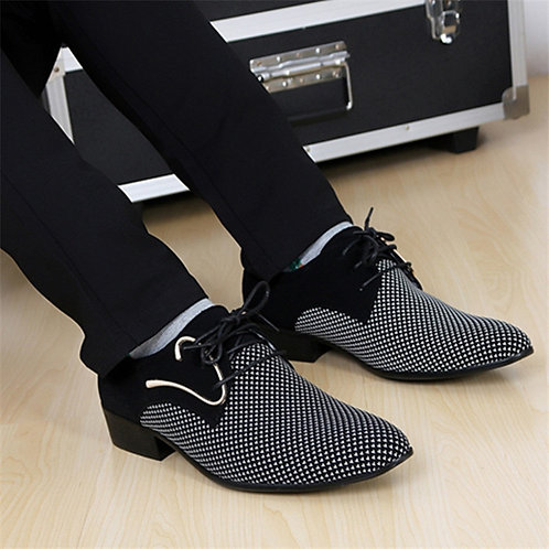 Mens Leather Concise Shoes Business Dress Pointy Plaid Black Shoes Breathable