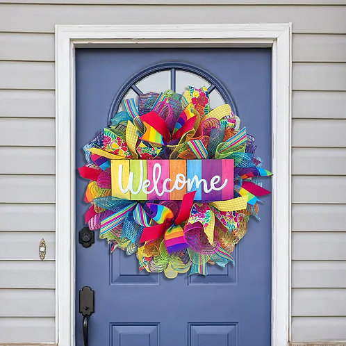 40x40cm Rainbow Wreath Lgbt Pride Wreath Front Door Wall Decoration Wreath