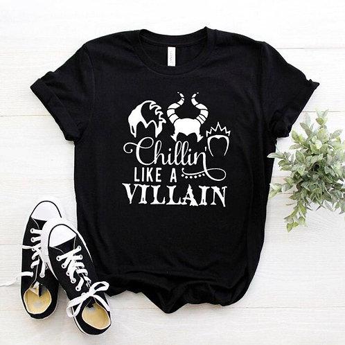 Women Chillin Like a Villain Black Tee Short Sleeve Top Floral Funny  T-Shirt