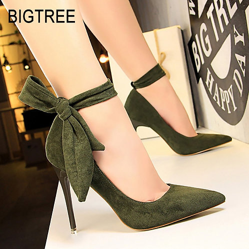 BIGTREE Shoes Women High Heels  Women Shoes Suede Ankle Strap Stiletto