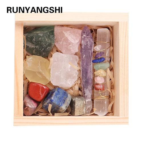 11pcs Natural Crystal Gemstone Amethyst Healing Chakra Stone Collection Stones