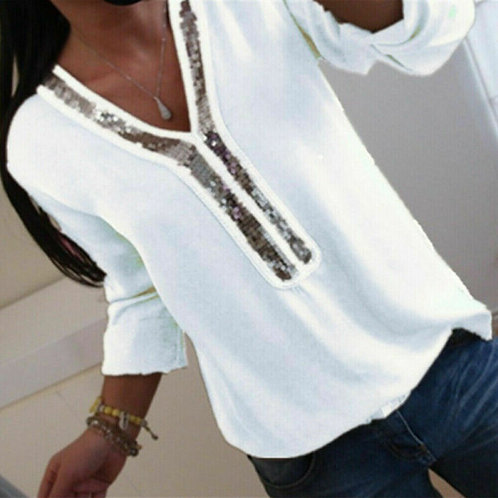 Women Ladies Long Sleeve Loose Blouse V-Neck Casual  Clothing Sequined