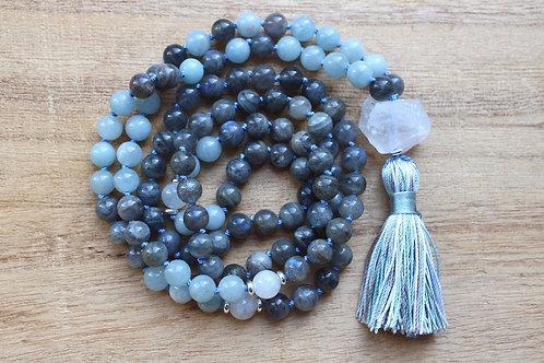 Natural Labradorite 108 Mala Bead, Meditation Mala Hand Knotted Prayer Necklace