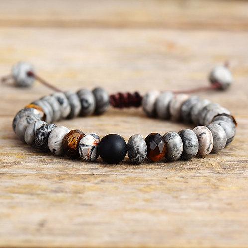 Natural Jaspers Stone Macrame Bracelets Couples Lovers Beads Bracelet
