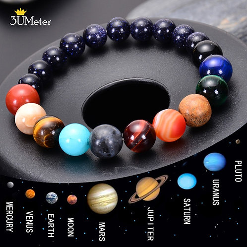 The Eight Planets Bracelets Natural Stone Beads Chakra Yoga Galaxy Solar System