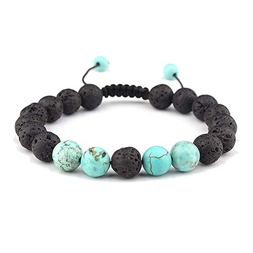 Adjustable Anxiety Diffusing Lava Stone Bracelet W/Turquoise Stones