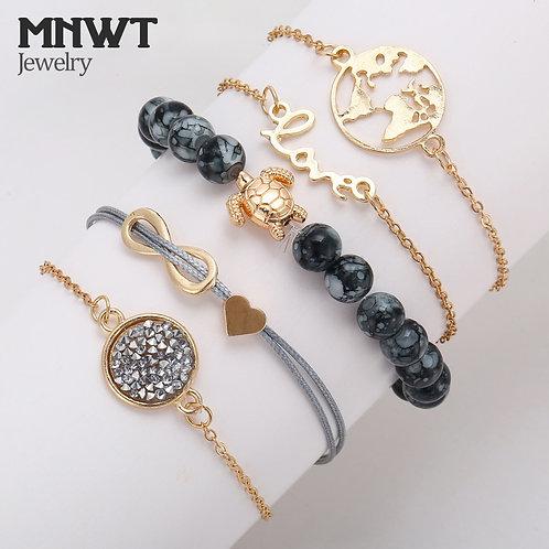 5pcs/Set Boho Crystal Stone Infinite Chain, Turtle Heart Earth Bead Bracelets