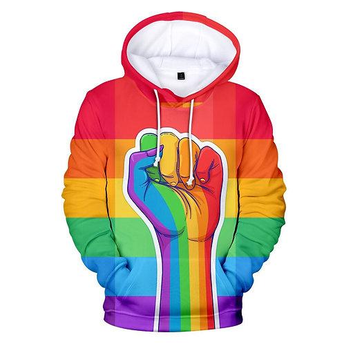 Colorful Rainbow LGBT Hoodies  Pride LGBT Hoodie Fashion Casual Pullover Hooded