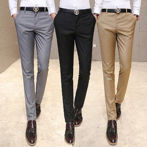 Quality Men's Suit Pants Men Solid Color Slim Business Dress Pants  Straights