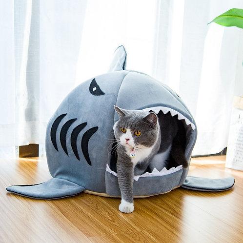 Shark Pet Dog Cat House Soft Crystal Velvet  Washable Cat Dog Bed Small Medium