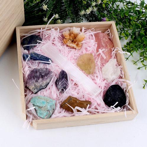 Crystal Healing Stone Custom 7 Chakra Stones Box, Meditation Crystal Gift Box