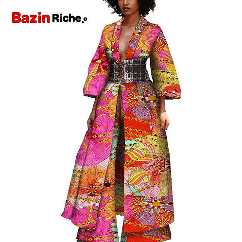 African Clothes Ankle Length Long Trench Coat and Wide Leg Pant 2 Pieces Casual