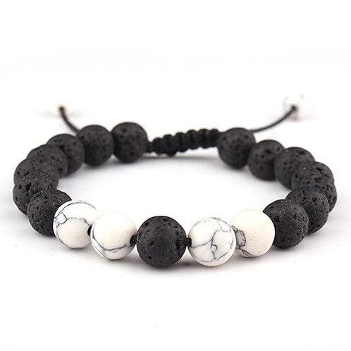 Adjustable Anxiety Diffusing Lava Stone Bracelet W/White Stones