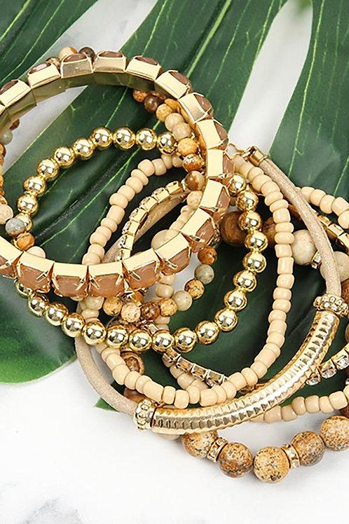 Hdb2269 - Plus Size Stackable Beads Bracelet Set