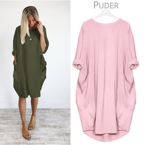 Loose Oversized Womens Dresses Summer Baggy Pockets Dresses Casual Knee Length