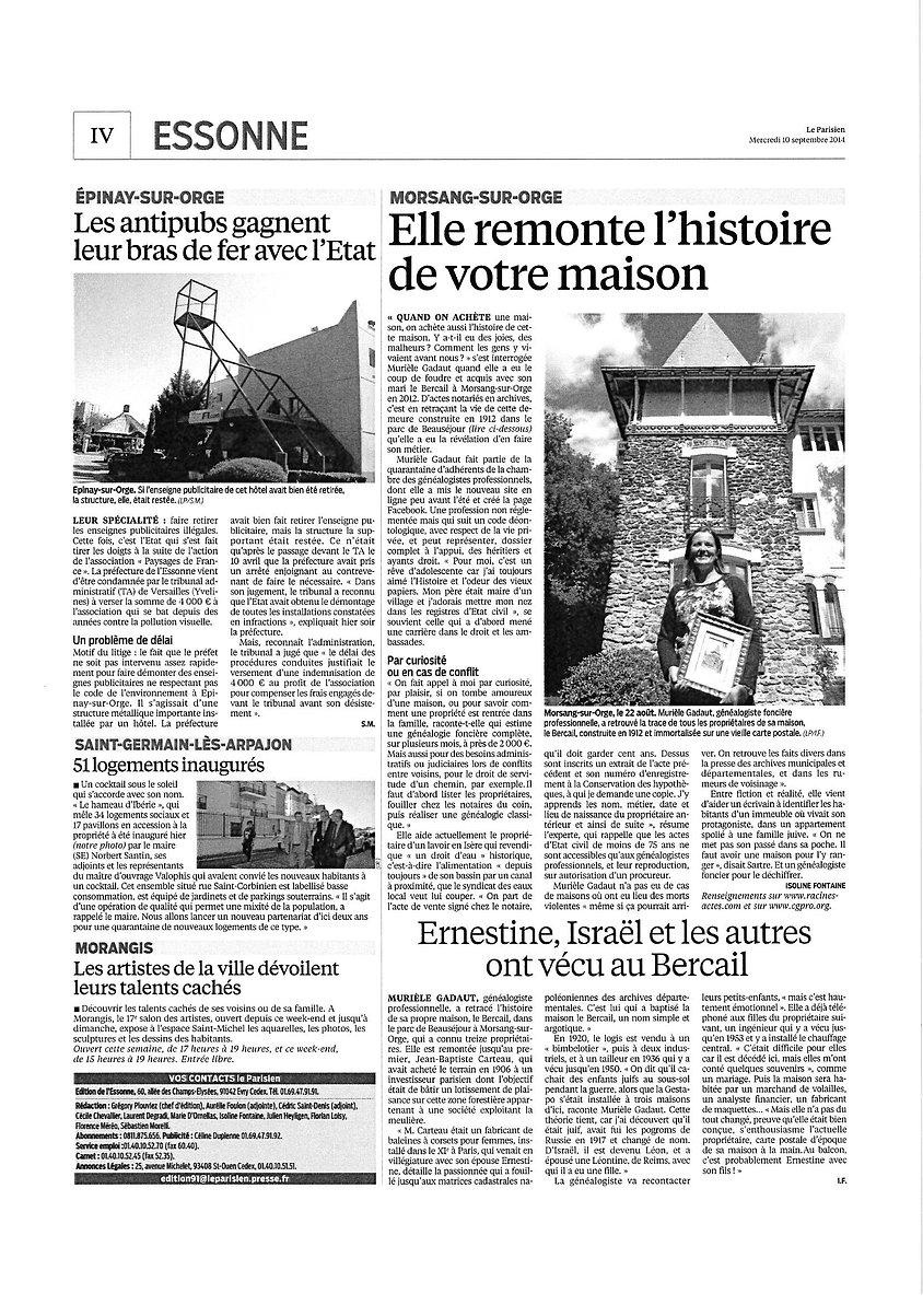 Article Le Parisien 10/09/2014