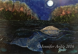 Gray Whale With Full Moon