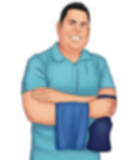 Cartoon of Luis D. Mendez, Owner of LDM Cleaning Services