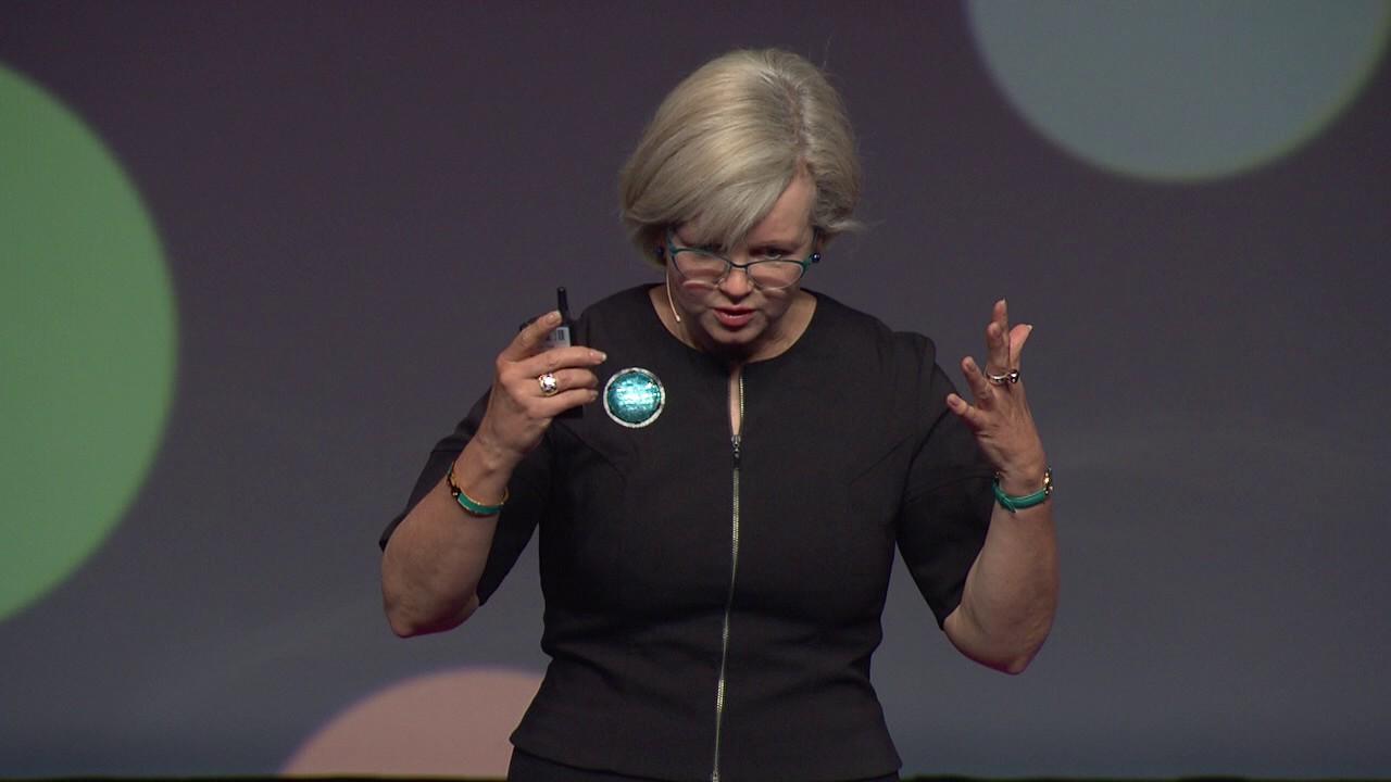 Fiona Kerr speaking on stage