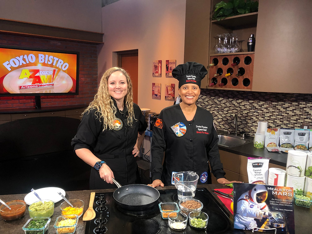 Analog astronauts Erin Bonilla and Sian Proctor prepare to go Live on Fox10 Morning Bistro.