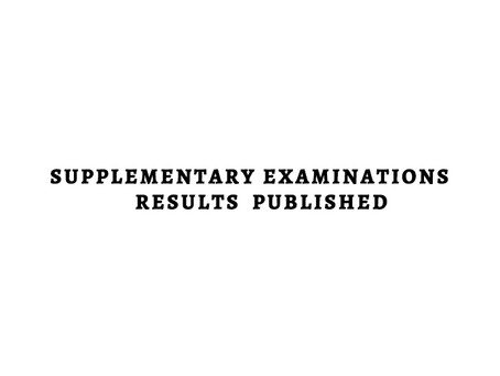 Supplementary Examinations Results Published